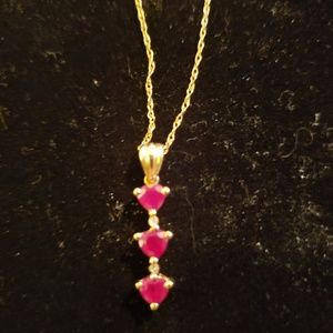 Ruby 3 stone necklace